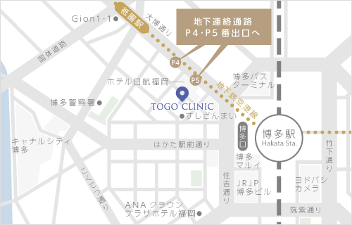 東郷美容形成外科福岡メンズ イラストマップ